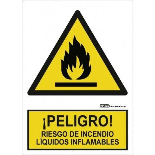 Señal PELIGRO RIESGO DE INCENDIOS LIQUIDOS INFLAMABLES A4 Y A3