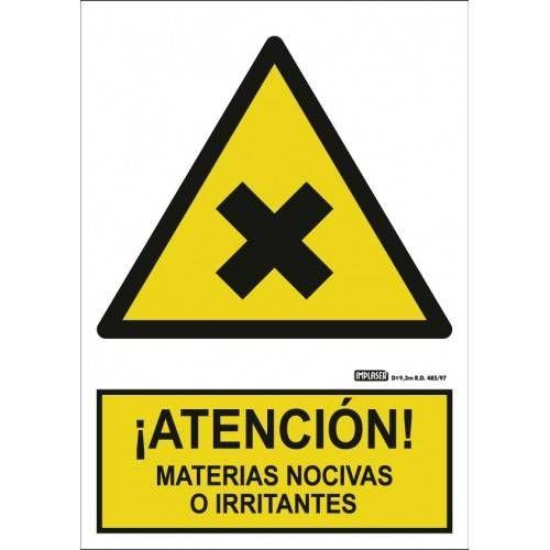 Señal ¡ATENCIÓN! MATERIAS NOCIVAS O IRRITANTES A4 Y A3