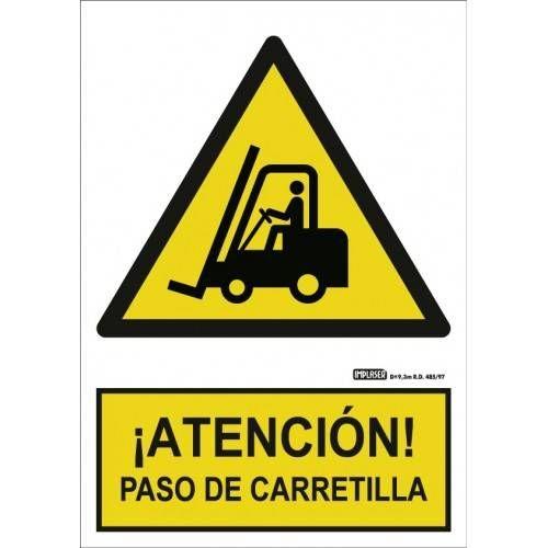 Señal ¡ ATENCIÓN ! PASO DE CARRETILLA A4 Y A3