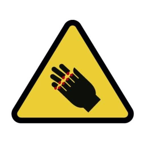 Señal riesgo de corte para manos adhesivo 9 CM