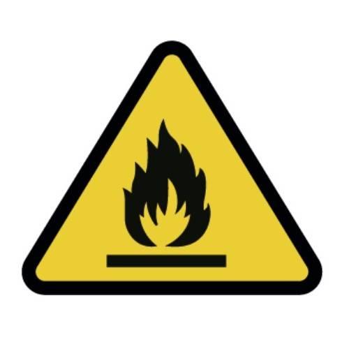 Señal peligro de incendio adhesivo 9 CM.