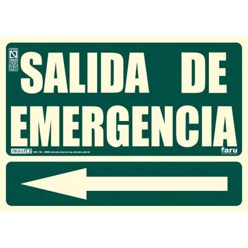 Señal SALIDA DE EMERGENCIA Flecha a la izquierda A4 Y A3