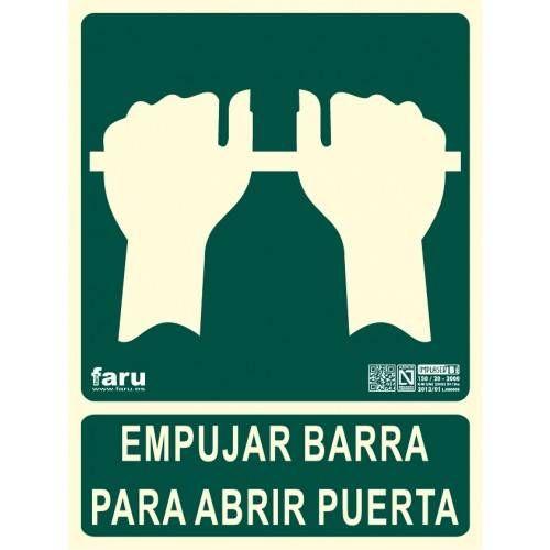 SEÑAL EMPUJAR BARRA PARA ABRIR PUERTA 22.4 x 30 cm