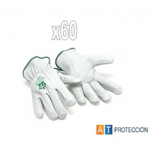Pack 60 pares Guantes conductor piel blancos