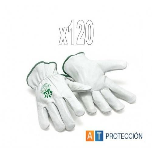 Pack 120 pares Guantes conductor piel blancos