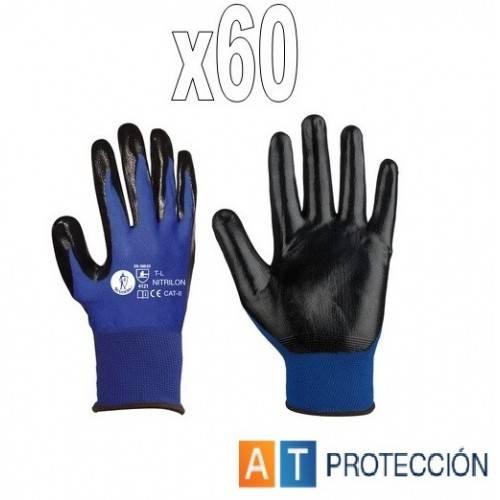 Pack 60 pares guantes nitrilo azul-negro NITRILON