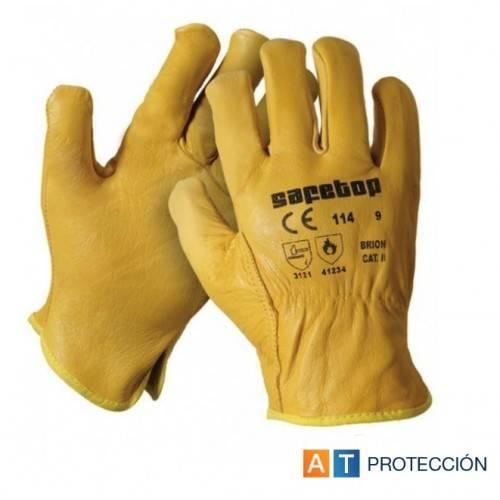 Guantes conductor piel amarillo ABA 214