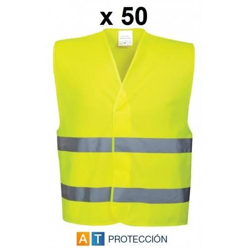 Pack 50 chalecos alta visibilidad económicos