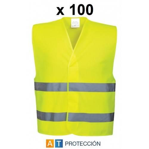 Pack 100 chalecos alta visibilidad económicos