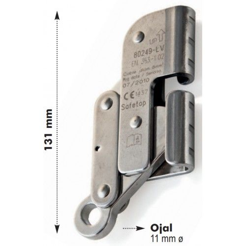 Dispositivo de frenado cable acero línea vertical