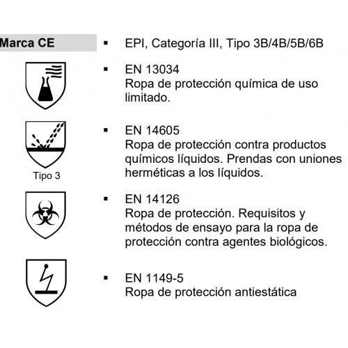 Delantal químico con mangas ASATEX Cover Chem