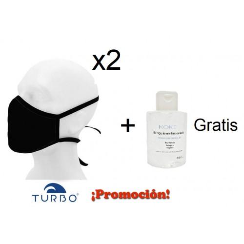 OFERTA- 2 Mascarillas de protección tejido FFP2 - REUTILIZABLES+ Gel 100 ML ( Incluído)
