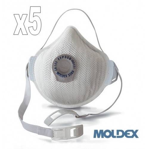 Pack 5 mascarilla coronavirus Moldex FFP3 con válvula