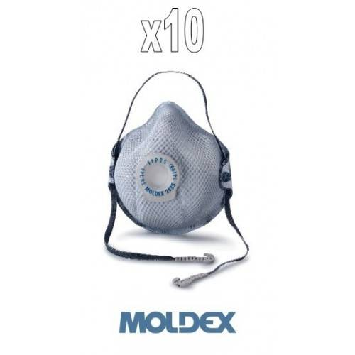 Pack 10 mascarillas Moldex FFP2 con válvula y carbón activo.