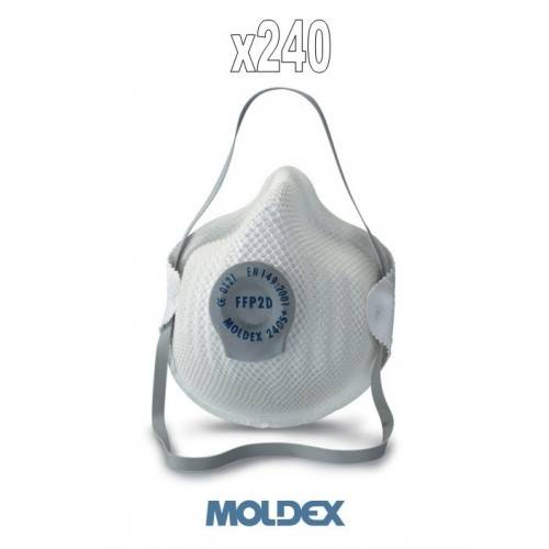 Pack 240 mascarillas Moldex FFP2 con válvula