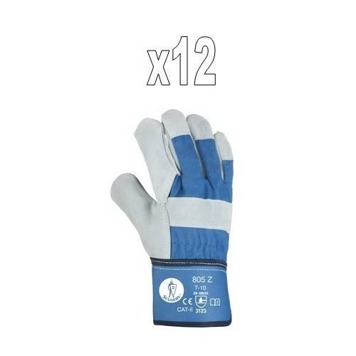 Pack 12 pares guantes americanos serraje-lona 805Z
