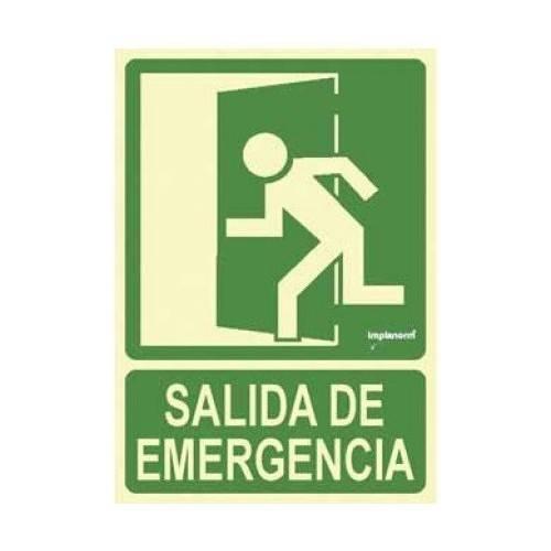 Señal SALIDA hacia la izquierda (imagen puerta señalizada) 22.4 x 30 cm.