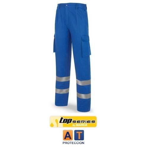 Pantalón algodón azulina con bandas reflectantes