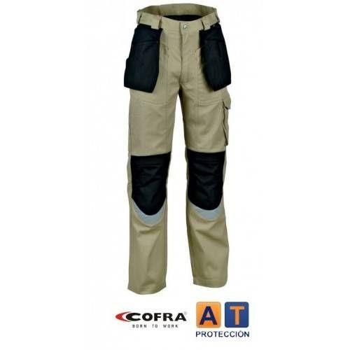 Pantalón tergal COFRA Carpenter beig-negro